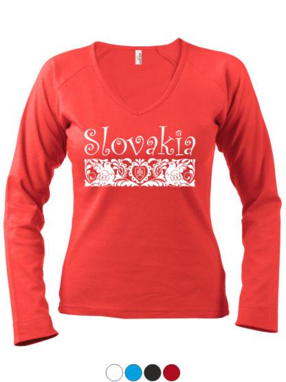 Dámske tričko Slovakia Folk - červené