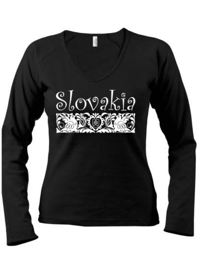 Dámske tričko Slovakia Folk - čierne