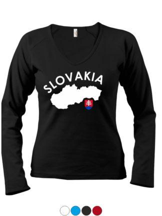 Dámske tričko Slovakia Map - čierne