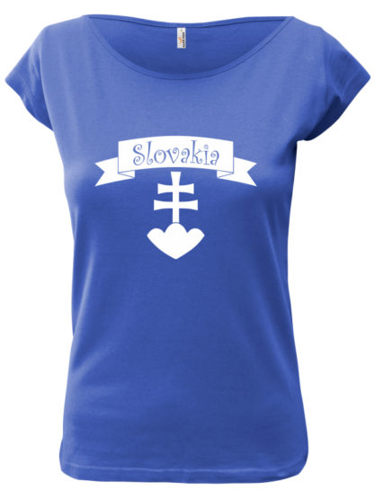 Dámske tričko Slovakia Retro Erb - modré