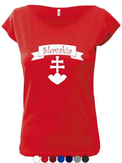 Dámske tričko Slovakia Retro Erb - červené
