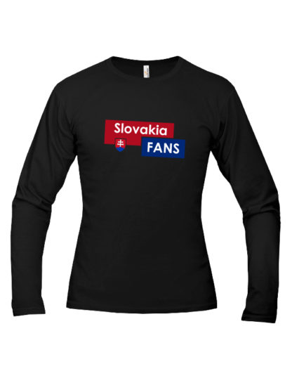 Pánske tričko dlhý rukáv Slovakia Fans - čierne