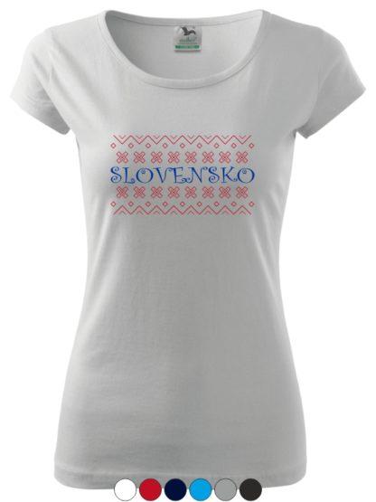Dámske tričko Folklórne Slovensko - biele