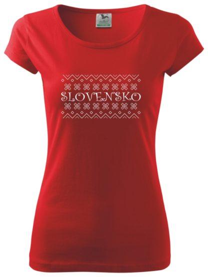 Dámske tričko Folklórne Slovensko - červené