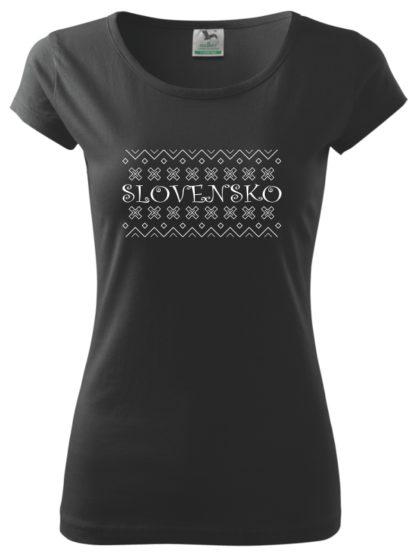 Dámske tričko Folklórne Slovensko - čierne