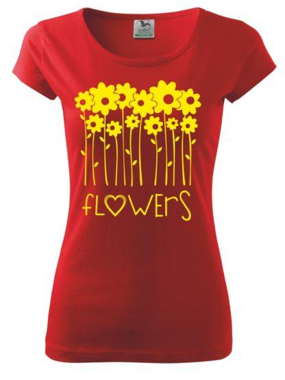 Dámske tričko milujem kvety - červené