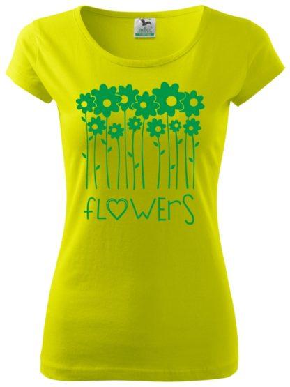 Dámske tričko milujem kvety - limetka