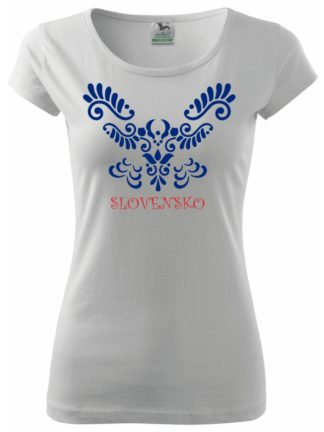 Dámske tričko Ľudové Slovensko I. - biele