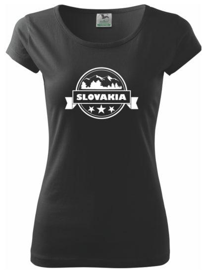 Dámske tričko Slovakia Stamp - čierne