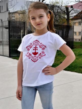 dievčenské tričko Slovakia Retro Erb - biele
