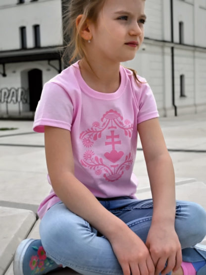 dievčenské tričko Slovakia Retro Erb - ružové 3