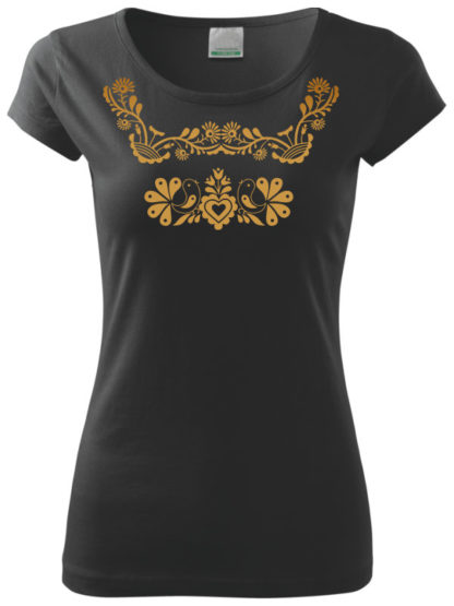 Dámske tričko zlaté slovenské ornamenty