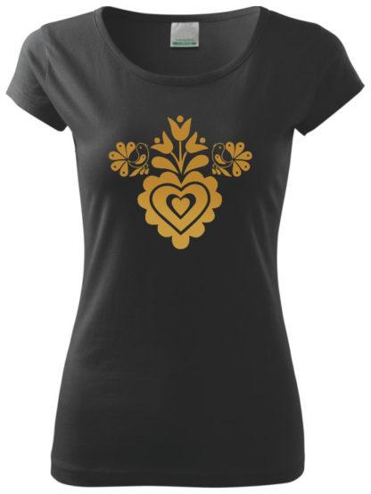 Dámske tričko Zlaté spevavé srdiečko