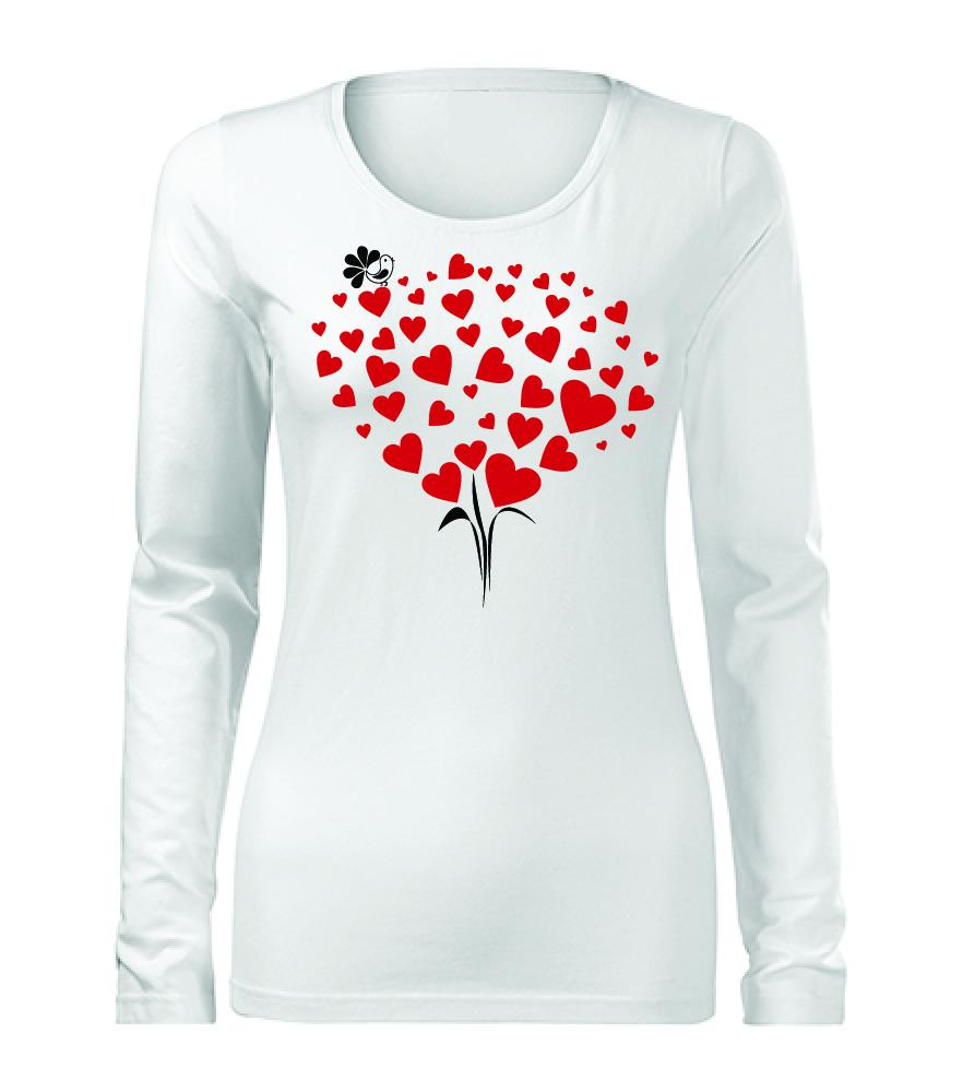 ef656728df22 Dámske tričko s dlhým rukávom srdiečková kytica s vtáčikom ...