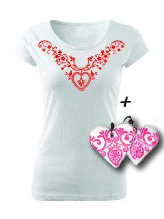 Dámske tričko kvetinky, vtáčiky s ľudovým srdiečkom s ľudovými náušnicami
