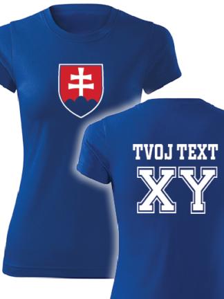 5211f590305a Dámske hokejové tričko Slovensko s vlastným textom v modrom