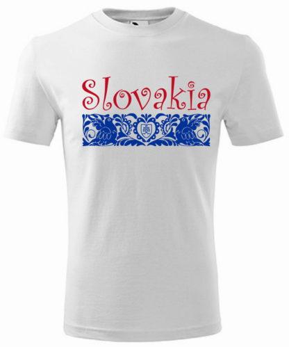 Pánske tričko Slovakia Elegance Folk - biele