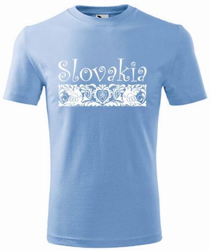 Pánske tričko Slovakia Elegance Folk - svetlo modré